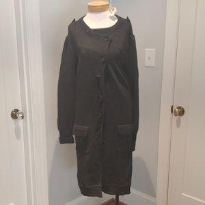 NWT Diane vonFurstenberg Grey Wool Sweater Coat